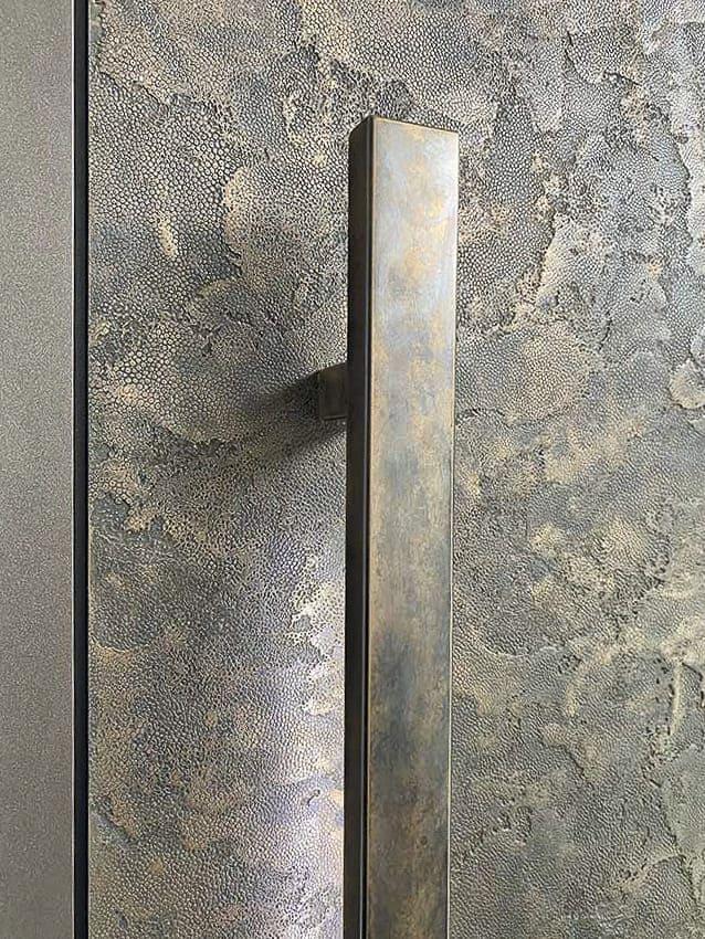 RK Pivot Exclusive Doors - antique gold painted handrail
