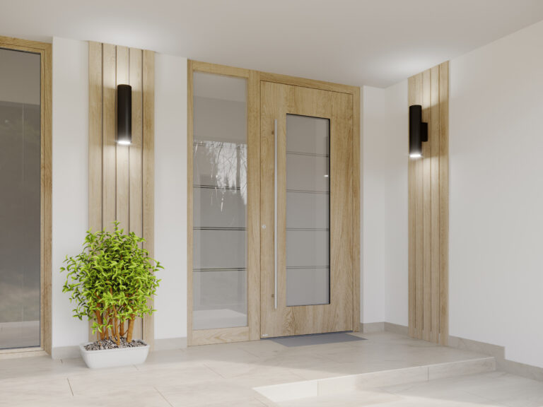 Wood-coloured door